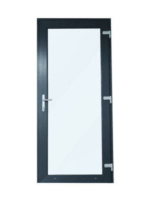 Antraciete Kunststof Deur met Kozijn - Volledig Glas